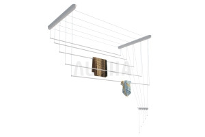 Сушилка для белья настенно-потолочная вкоробке, пластик голубой, 1,6м