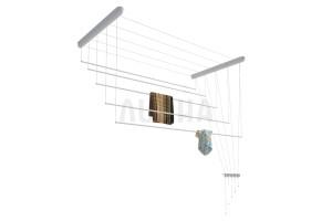 Сушилка для белья настенно-потолочная вкоробке, пластик голубой, 1,4м
